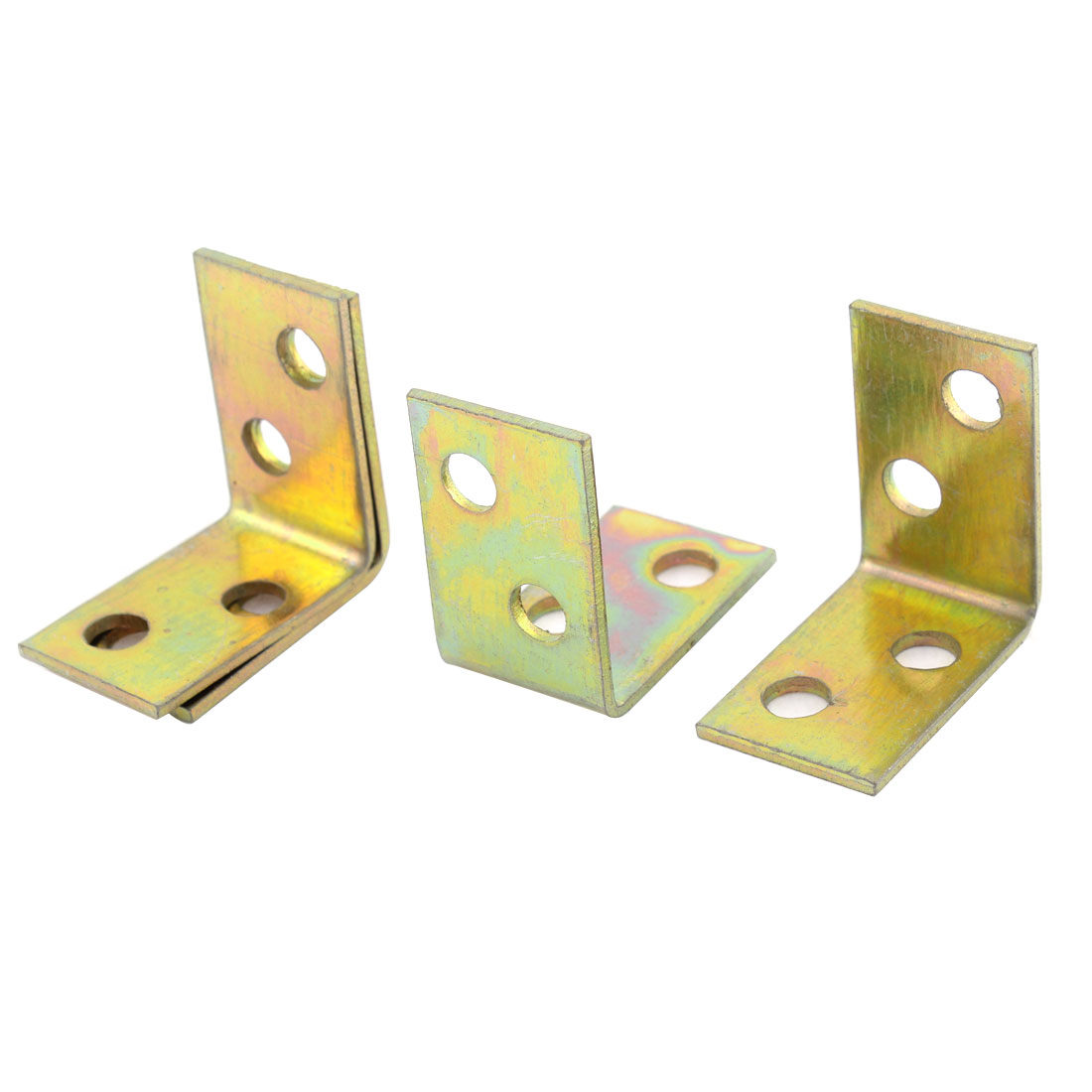 26mmx26mmx16mm Shelf Door 90 Degree 4Hole Corner Angle Brackets Brass Tone 4Pcs