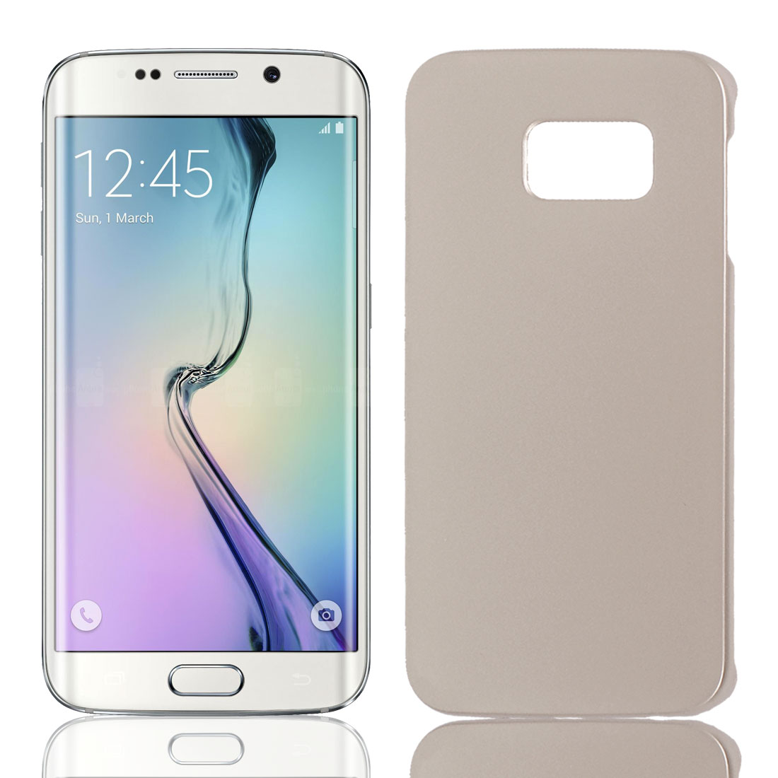Gold Tone Hard Plastic Back Case Cover Phone Protective Shell Guard Skin for Galaxy S6 Edge