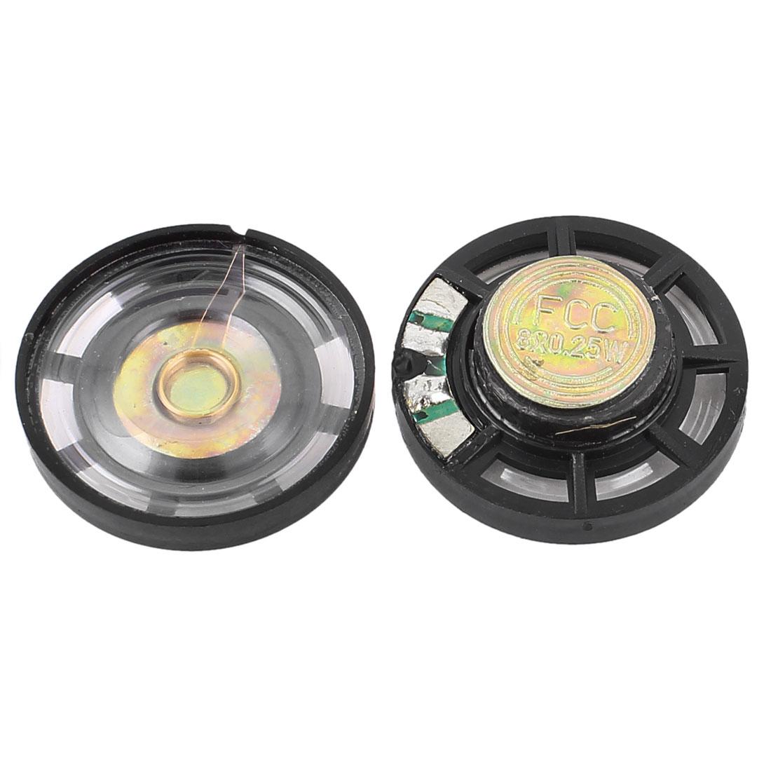 2pcs 0.25W 8 Ohm 29mm Dia Round External Magnetic Magnet Electronic Speaker Loudspeaker