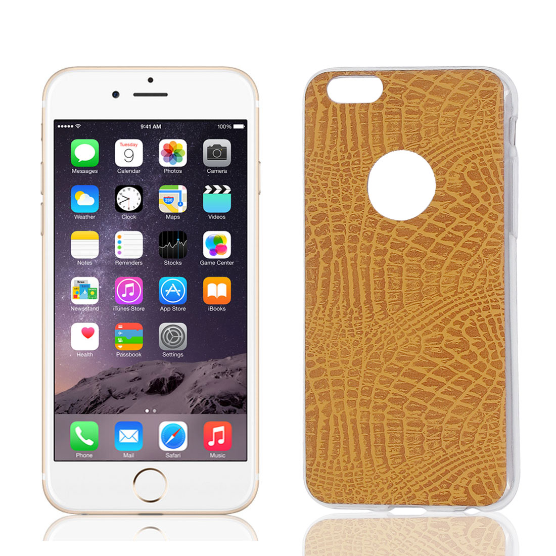 TPU Ultra Thin Case Cover Light Brown + Protective Film for Apple iPhone 6 4.7""
