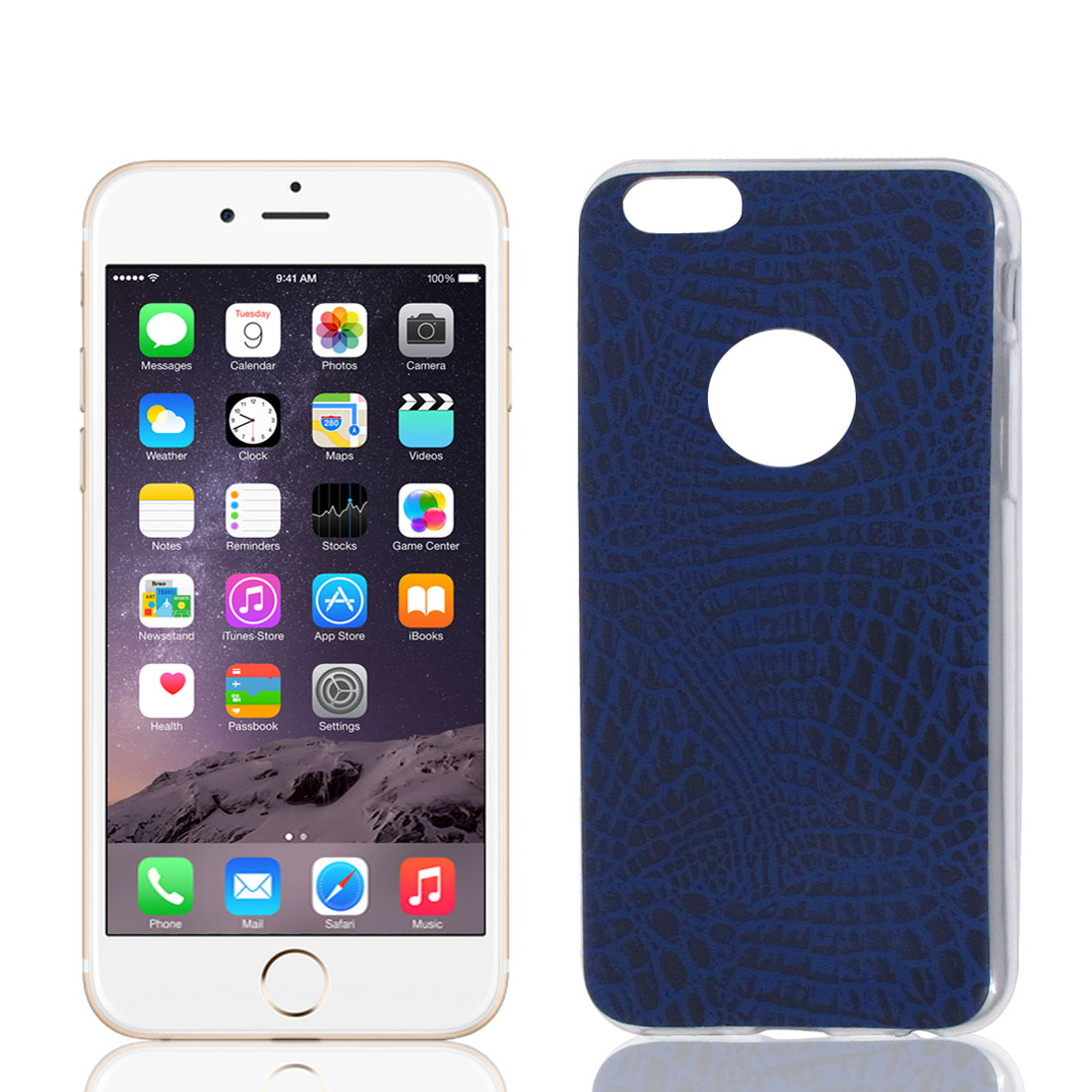 TPU Ultra Thin Case Cover Deep Blue + Protective Film for Apple iPhone 6 4.7""