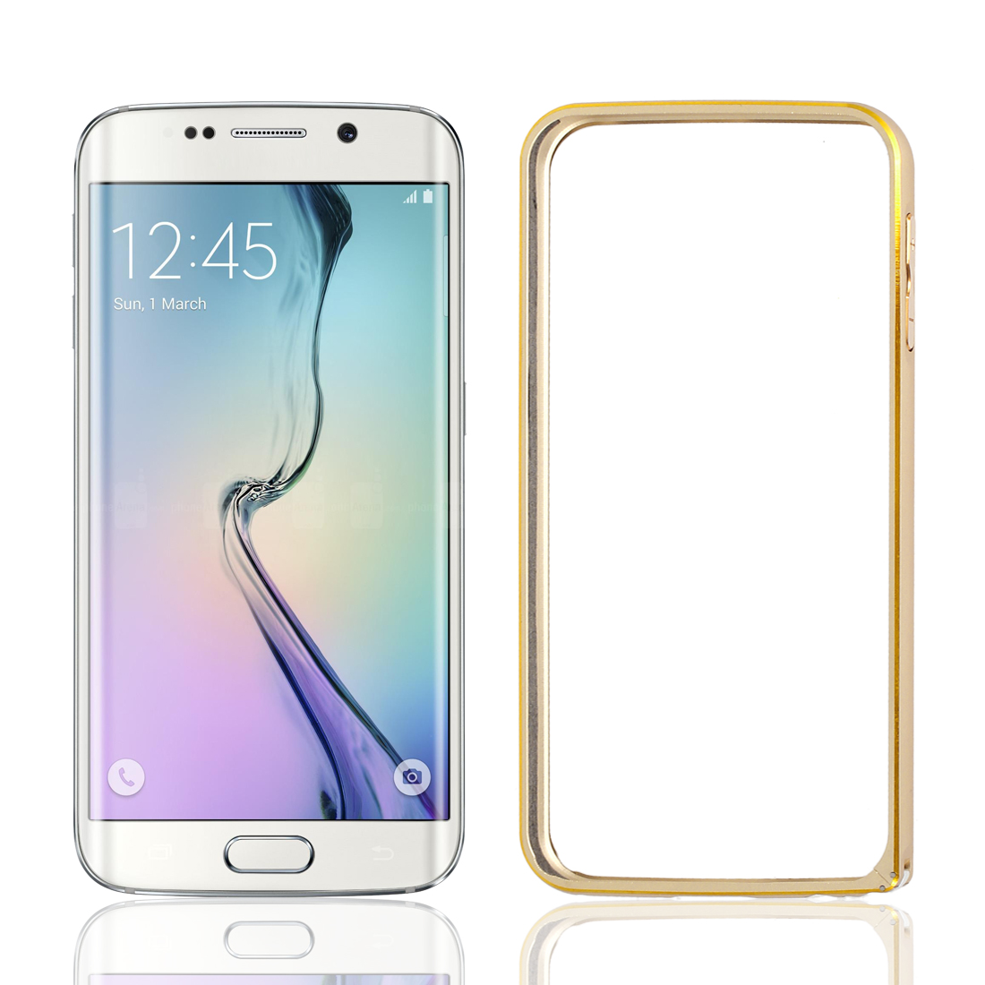 Thin Hybrid Aluminium Bumper Frame Case Cover Gold Tone + Film for Galaxy S6