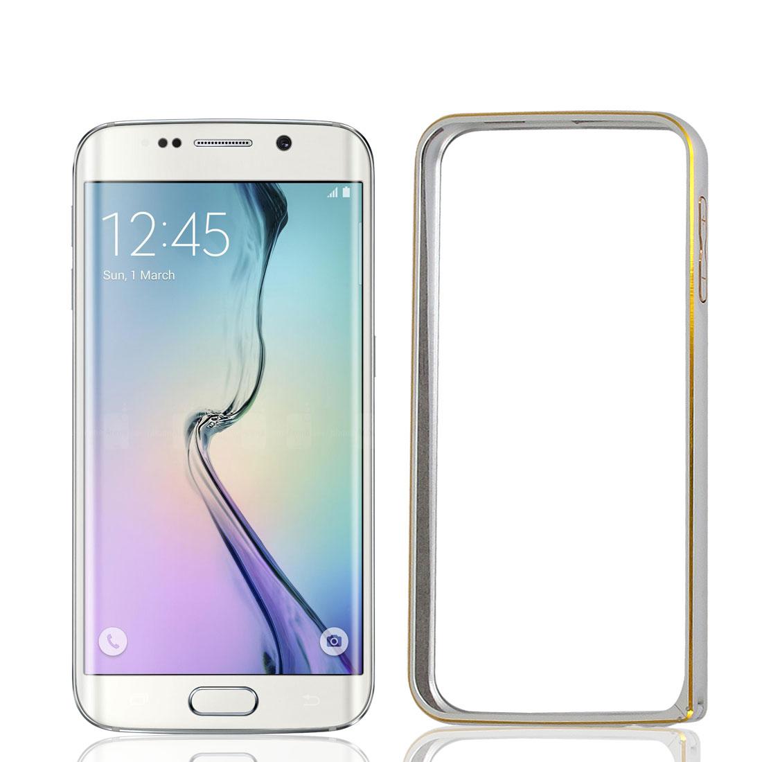 Thin Hybrid Aluminium Bumper Frame Case Cover Silver Tone + Film for Galaxy S6