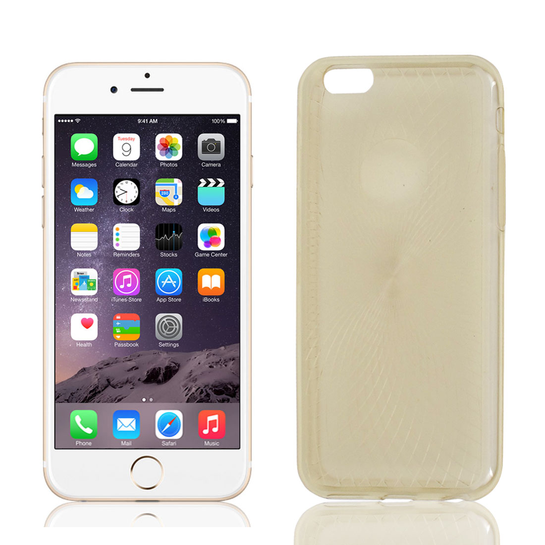 TPU Stripe Pattern Case Cover Beige w Protective Film for Apple iPhone 6 4.7""