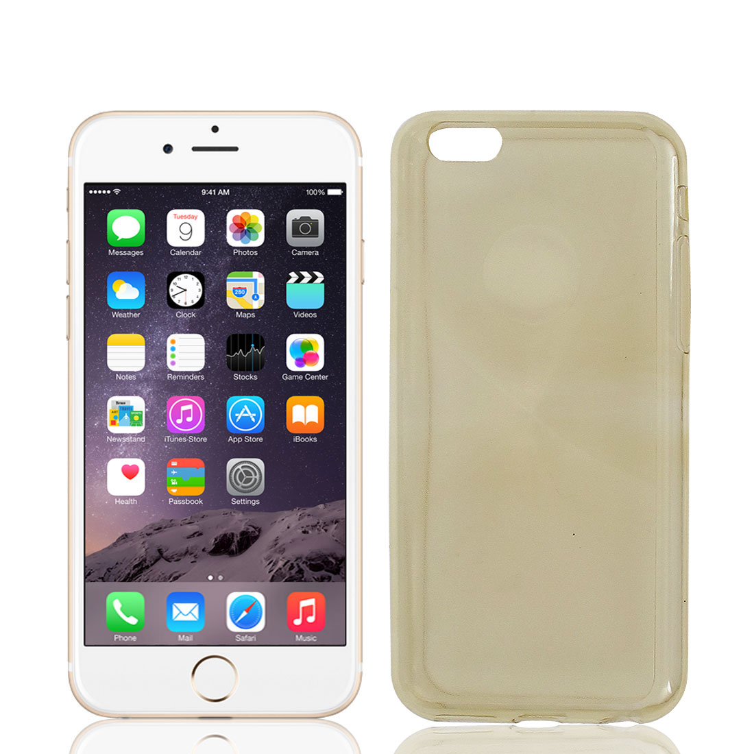 TPU Case Cover Bumper Light Yellow w Protective Film for Apple iPhone 6 4.7""