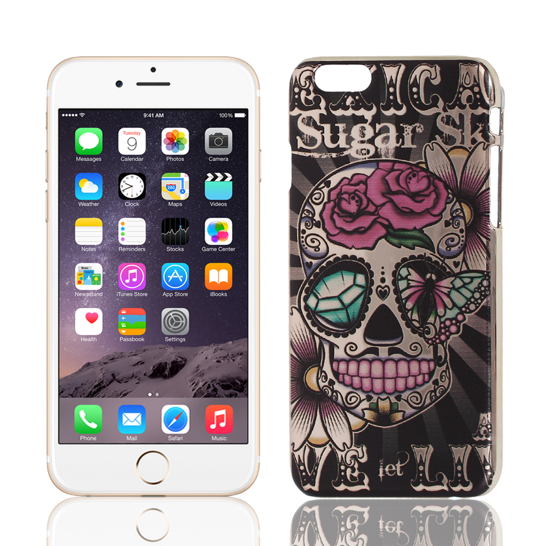 Painted Sugar Skull Pattern Hard Plastic Back Case Cover for iPhone 6 4.7""