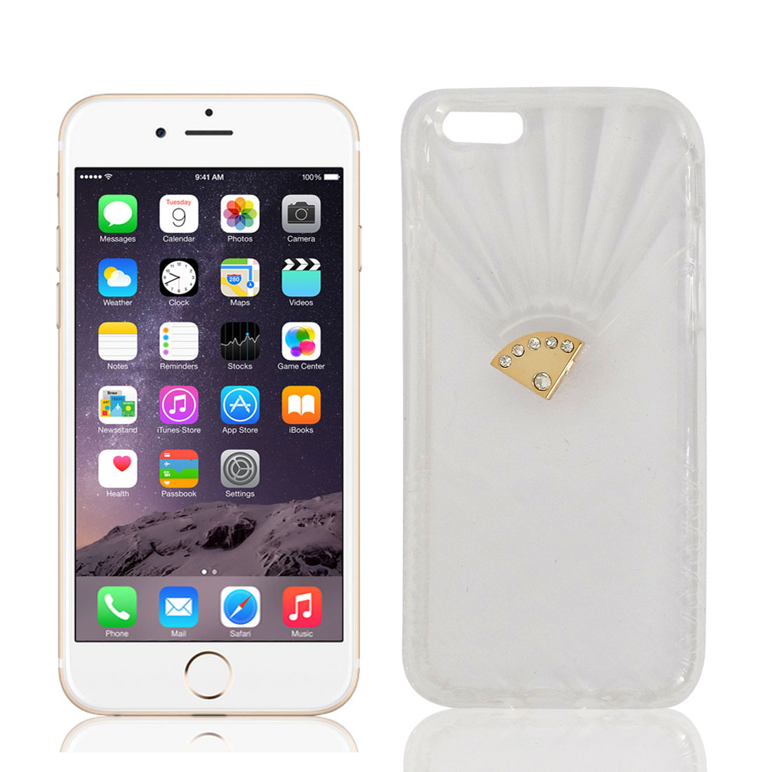 Rhinestone Inlaid Transparent TPU Skin Case Cover Protector Clear for iPhone 6