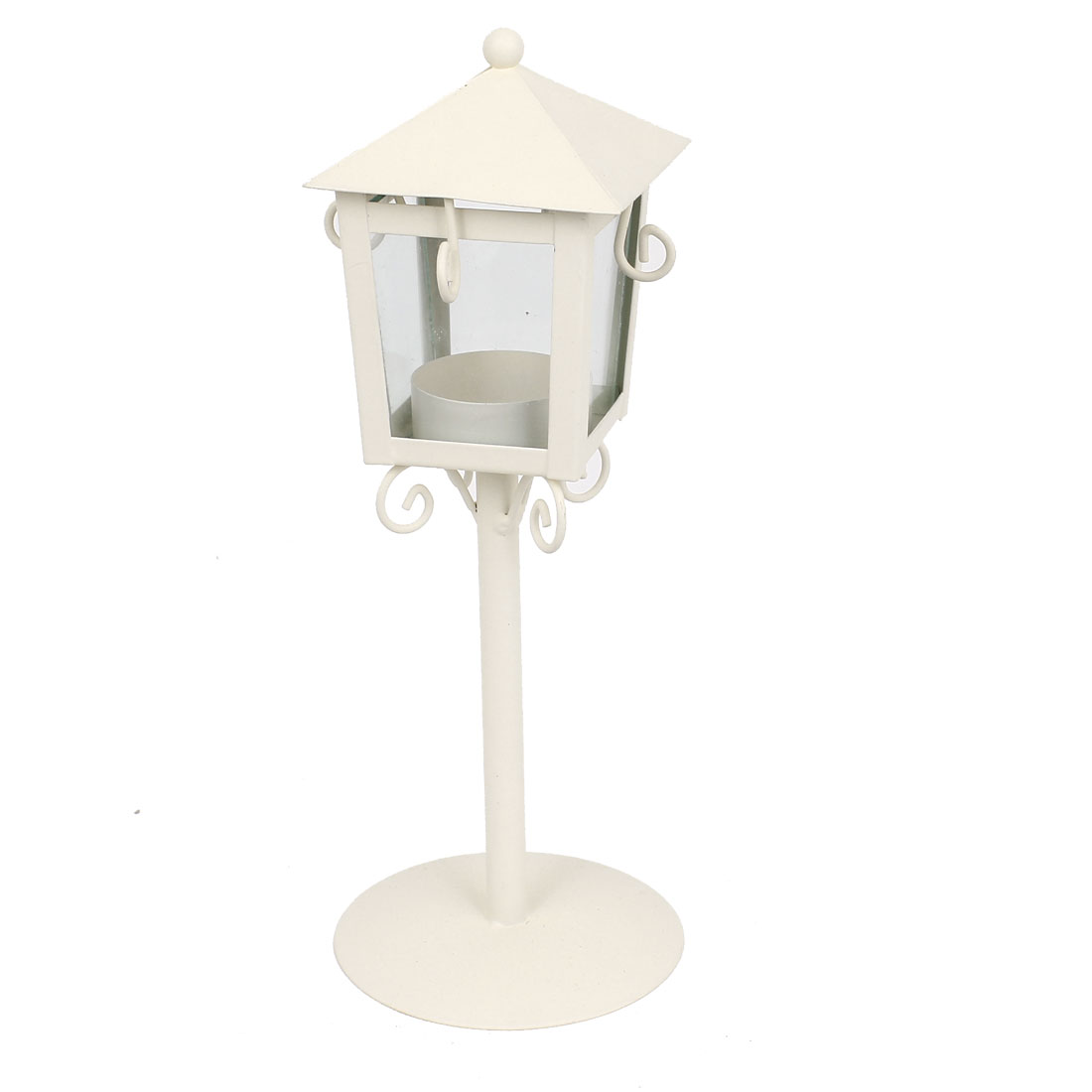 Metal Glass Hanging Candle Holder Tea Light Stand Lantern Gift White