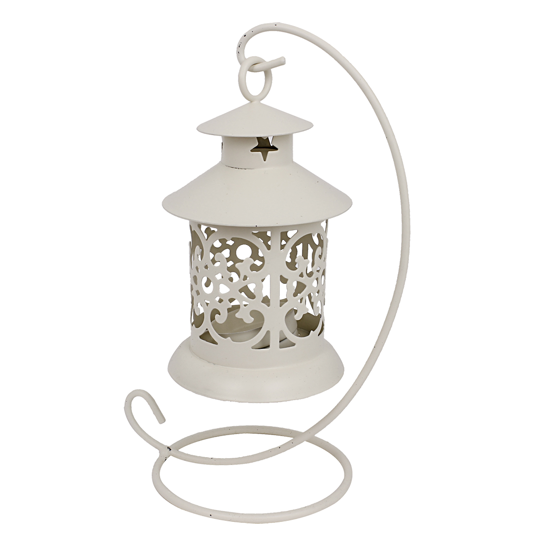Metal Moroccan Style Haning Candleholder Candle Stand Lantern White