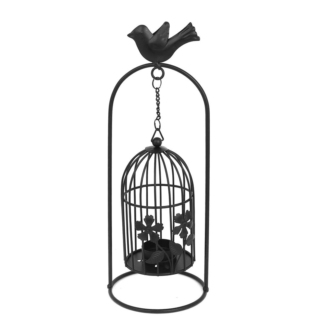 Iron Retro Style Bird Cage Tea Light Candle Holder Stand Hanger Black