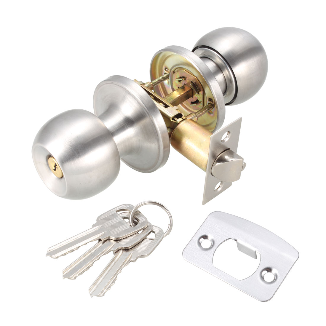 Bedroom Bathroom Keyed Oval Handle Round Door Knob Lock Locks Hardware