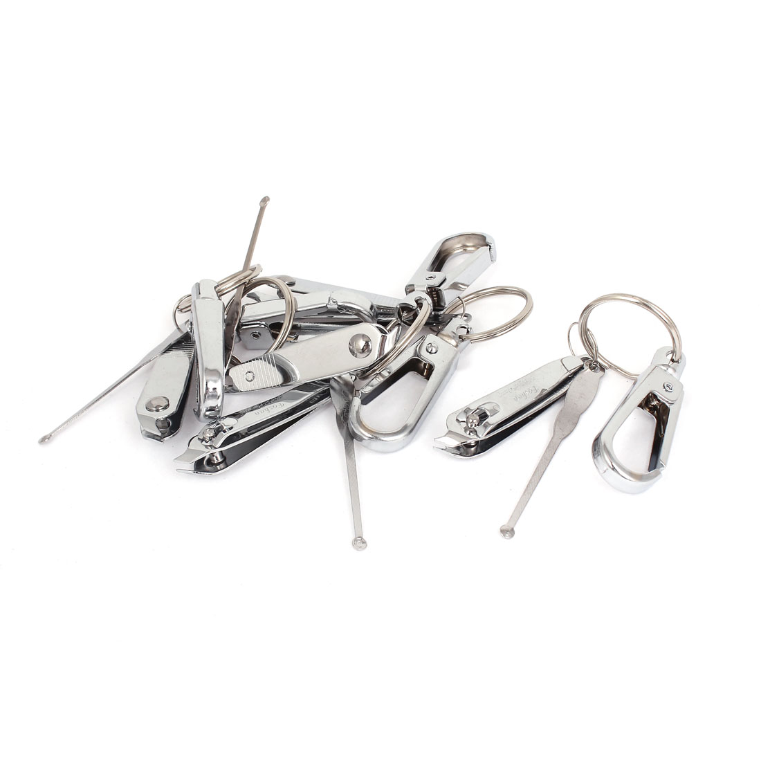5pcs Metal Spring Loaded Earpick Nail Clipper Key Ring Keychain Holder
