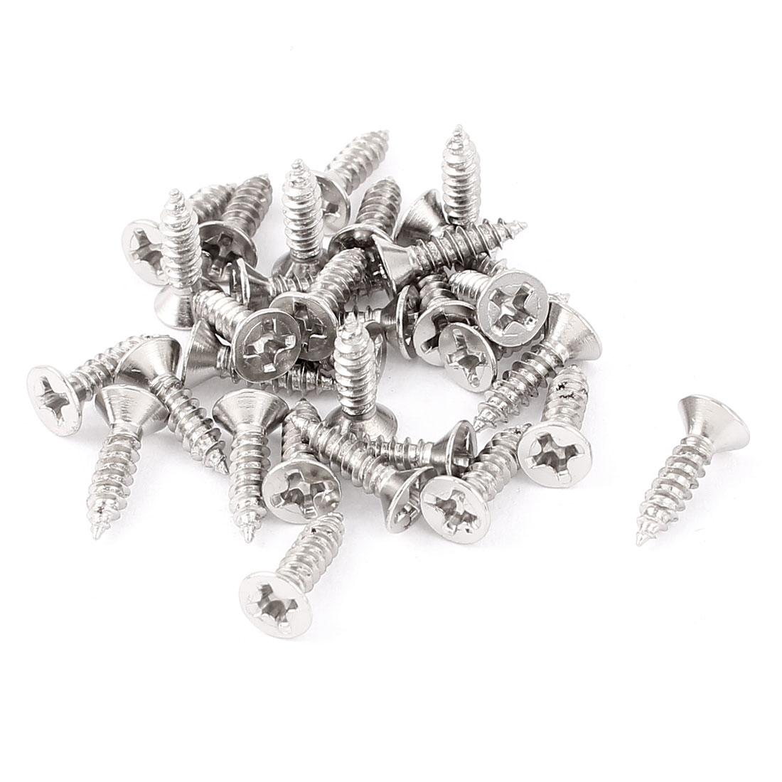 30pcs Stainless Steel Machine Phillips Flat Head Screws