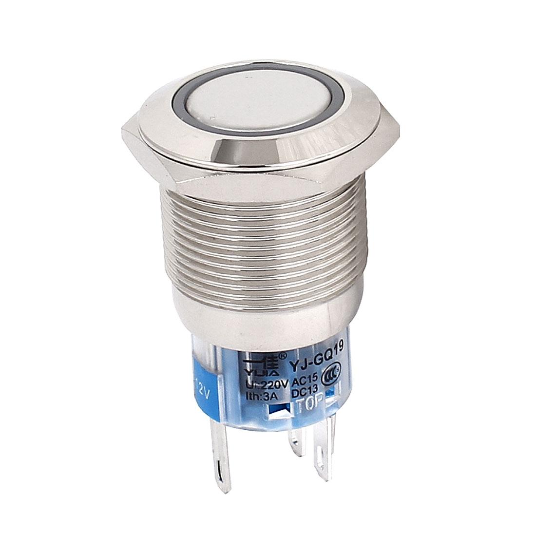 White Angel Eye Metal LED Latching 16mm Push Button Switch Car Dash 12V