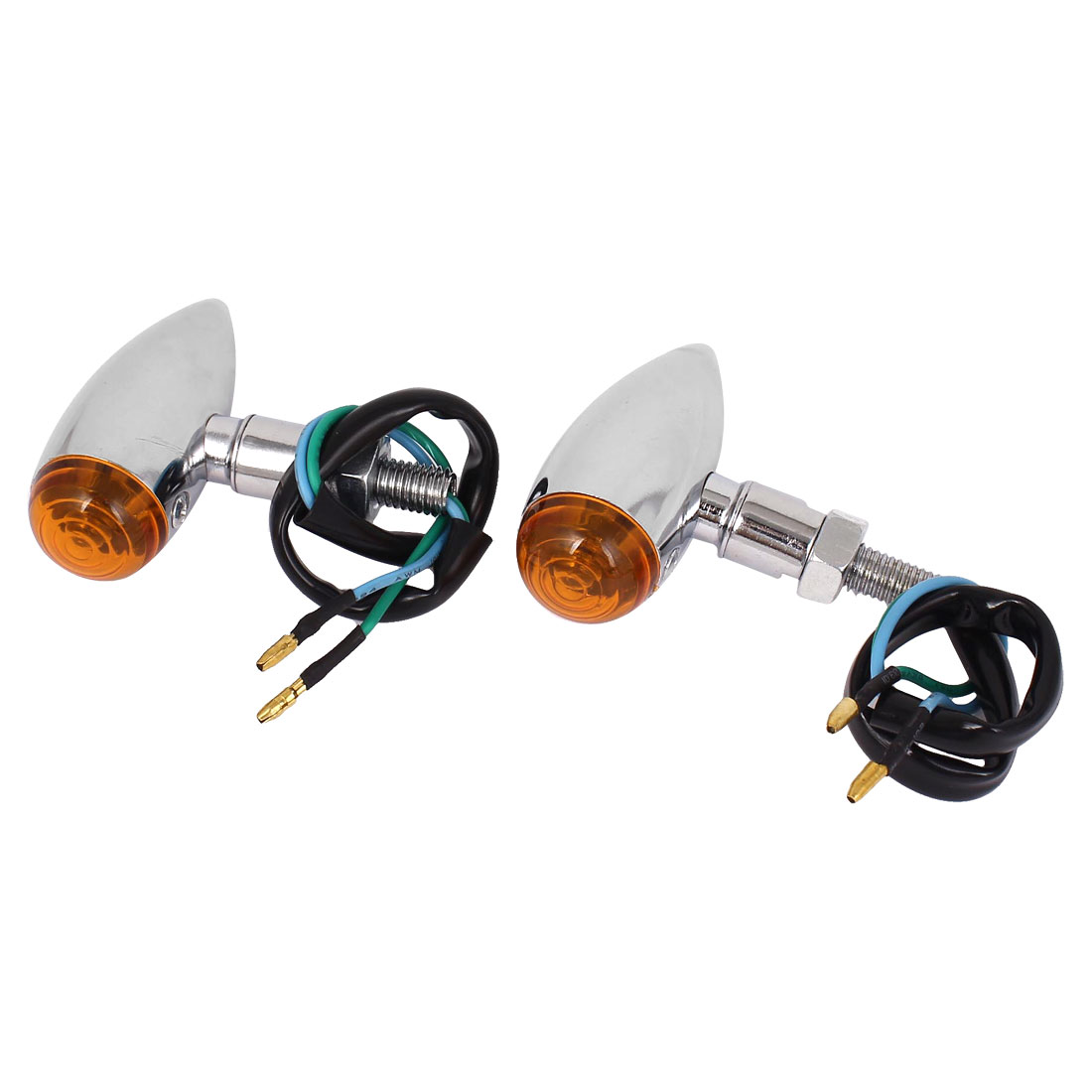 2 Pcs Motorcycle Metal Chrome Turn Signals Lights Blinkers Amber Indicators For Victory Hammer