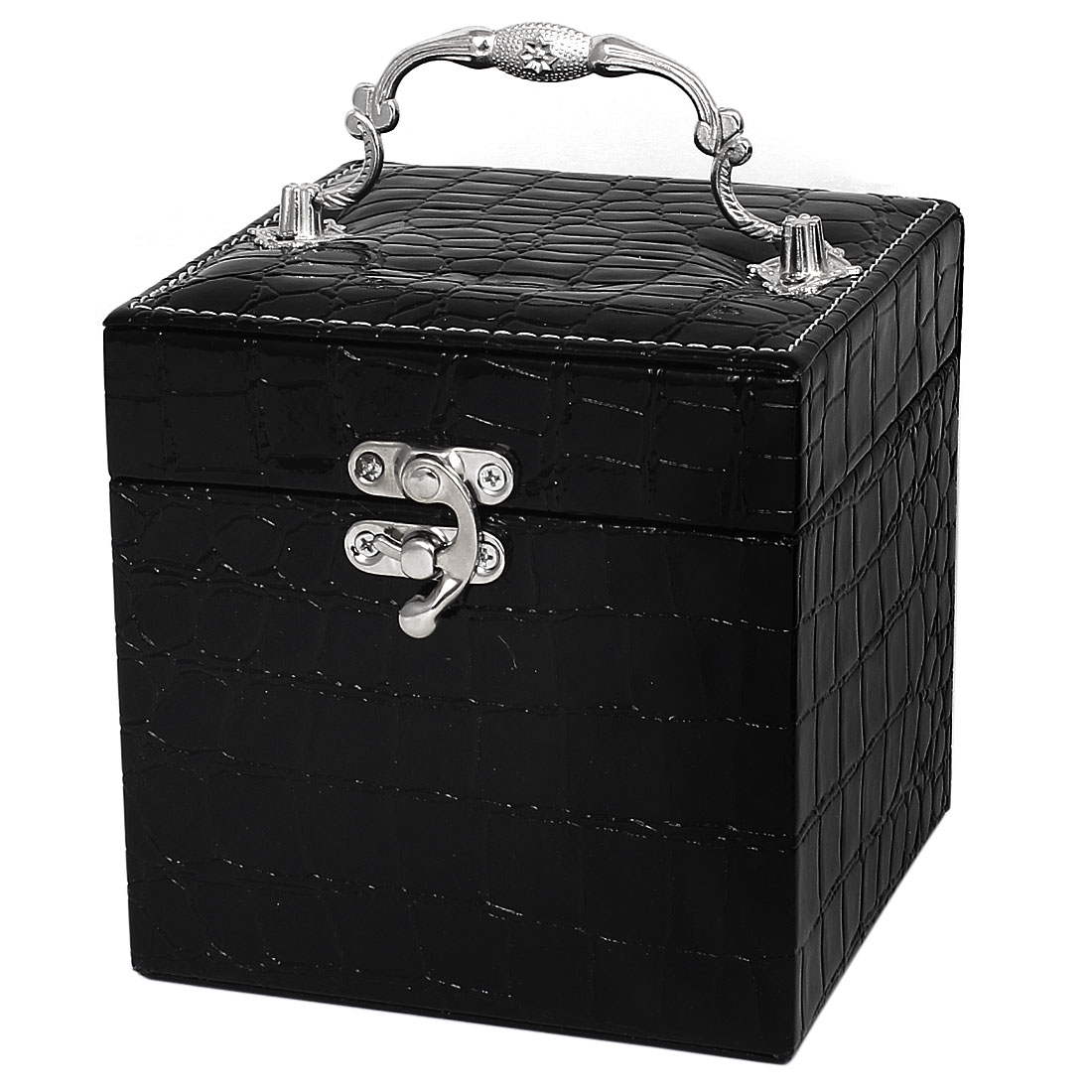 Faux Leather Alligator Pattern Portable 3-Layer Jewelry Box Case Organizer Black