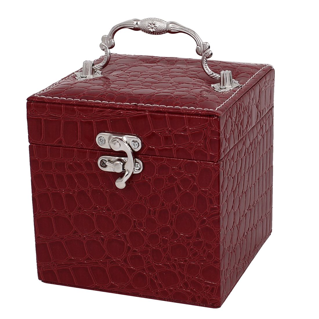 Lady Alligator Pattern Faux Leather 3-Layers Jewelry Box Case Organizer Red