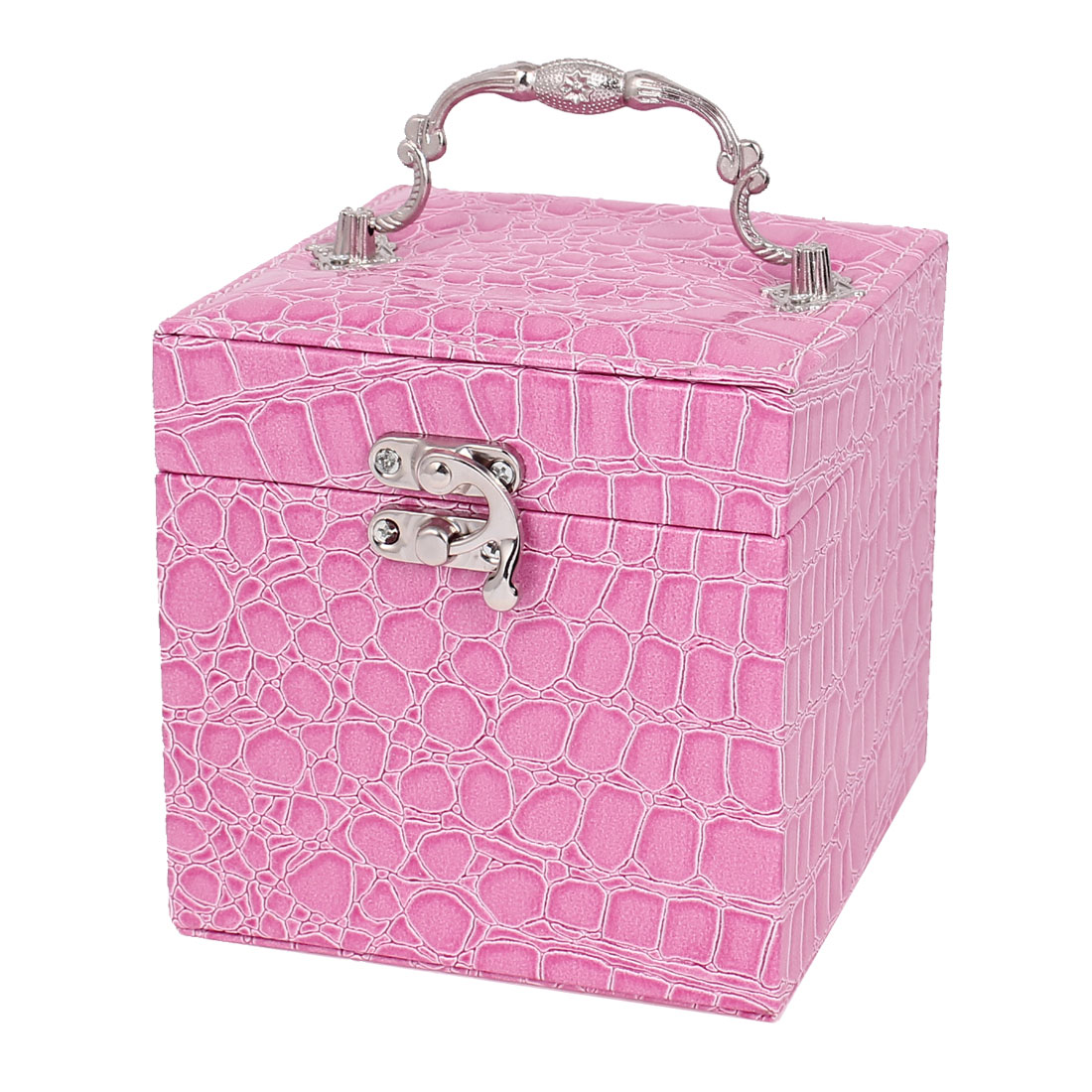 Lady Alligator Pattern Faux Leather 3-Layers Jewelry Box Case Organizer Pink