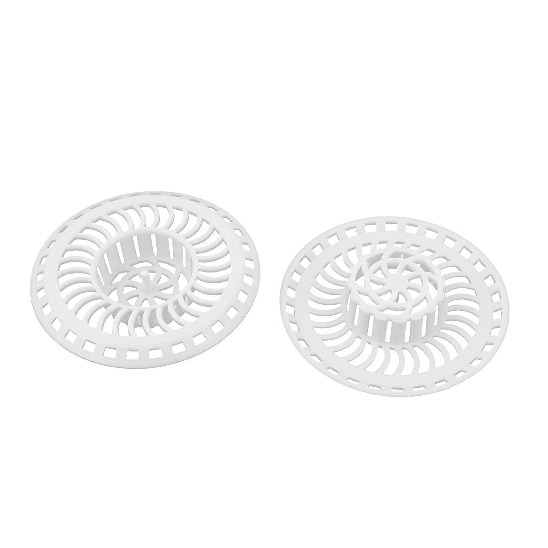 Kitchen Bathroom Plastic Mesh Hole Design Sink Strainer Stopper Basket Drain Bathtub Net Prevent Clogs 2pcs