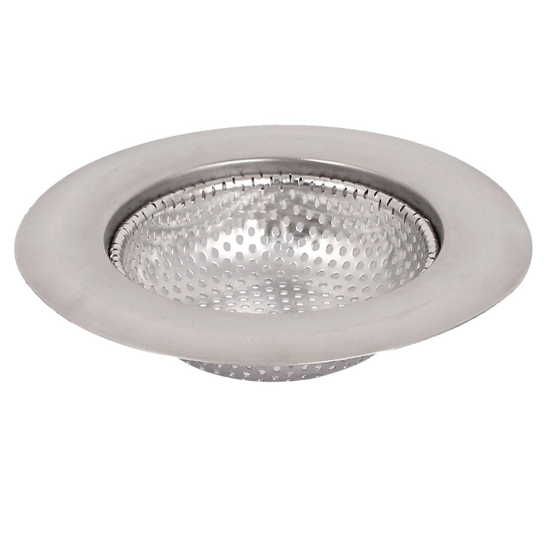 Silver Tone Metal Sink Strainer Mesh Basket Drain Net Bathtub Protector for Bathroom Kitchen