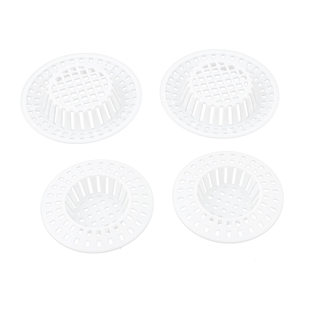 Kitchen Bathroom Plastic Mesh Hole Design Sink Strainer Stopper Basket Drain Bathtub Net Catch Hair 4pcs