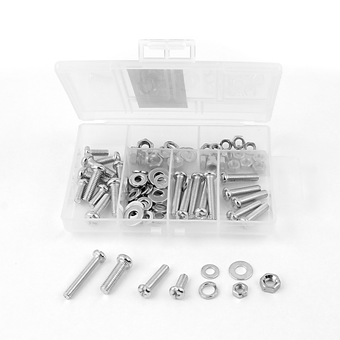 93 in 1 M5 M6 Silver Tone Metal Cross Oval Head Screw Bolt Nut Spring Flat Washer Set Kit Fasteners w Case