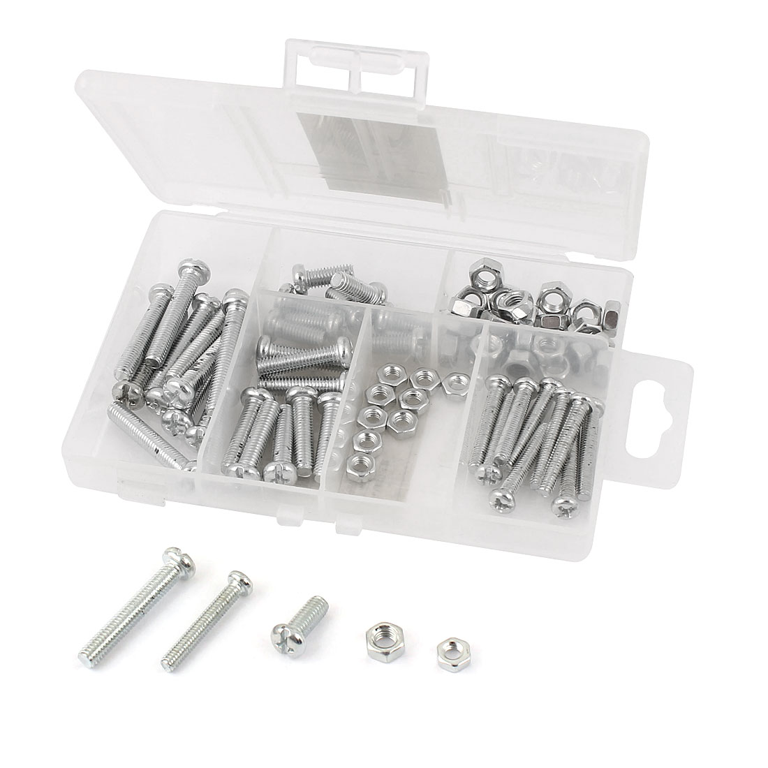 77 in 1 M4 M5 Silver Tone Metal Cross Oval Head Screw Bolt Nut Set Kit Fasteners w Case