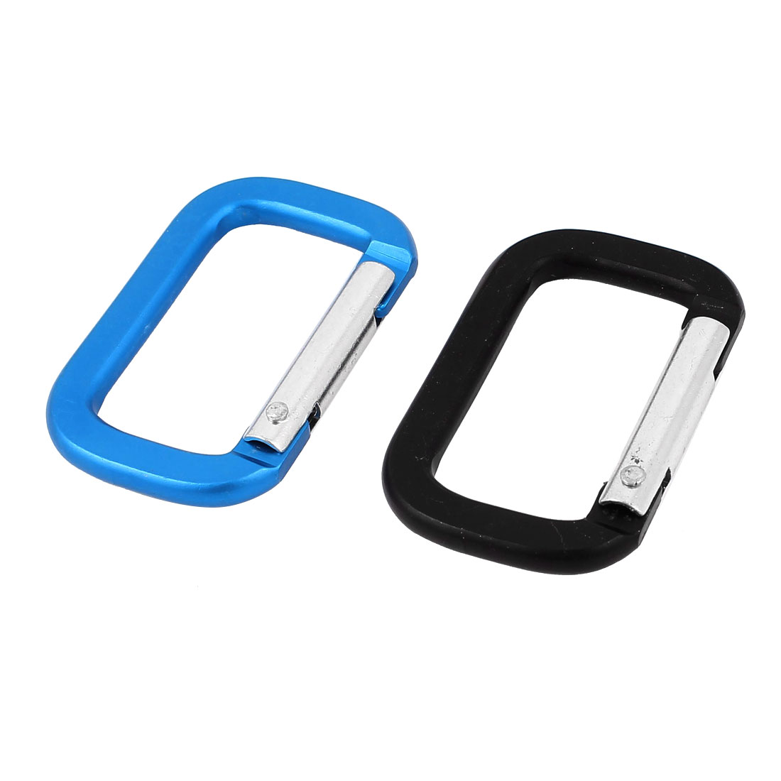 Camping Hiking Rectangle Carabiner Clip Spring Snap Hook Keyring Karabiner 2pcs Black Blue