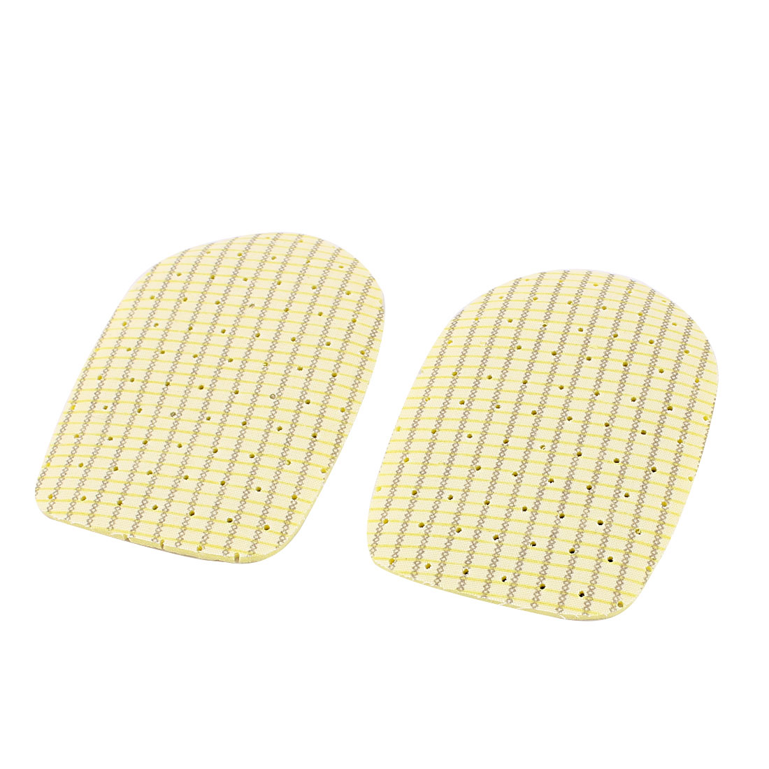 Lady Yellow Plaids Pattern Anti-Slip Feet Care Foot Cushion Protector Back Insoles Pads