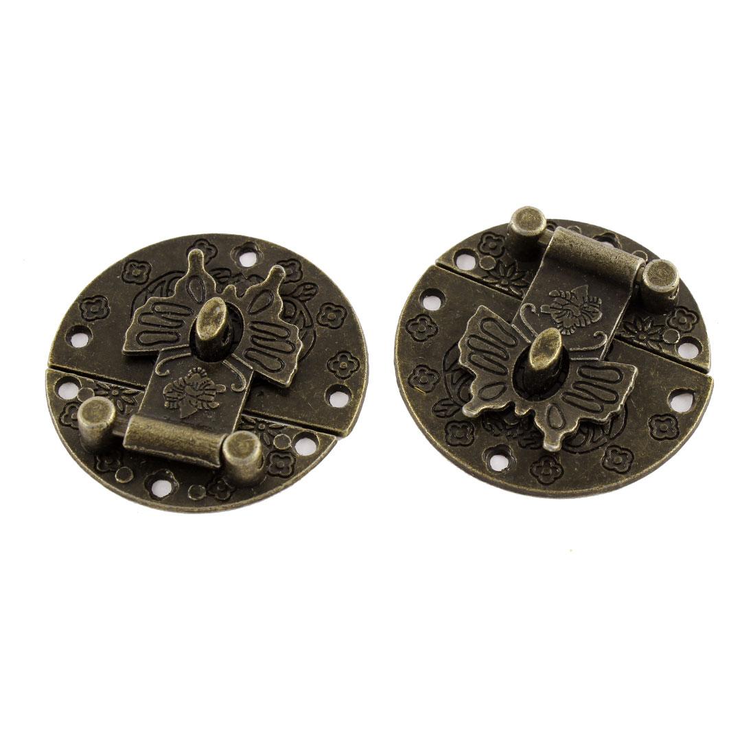 2pcs 40mmx40mm Bronze Pattern Carved Box Suitcase Decorative Hasp Latch Lock