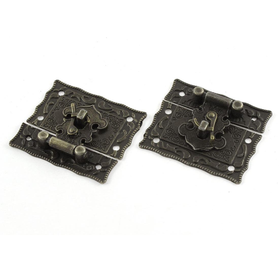 2pcs 51mmx43mm Vintage Style Jewelry Box Hasp Latch Lock w Screws