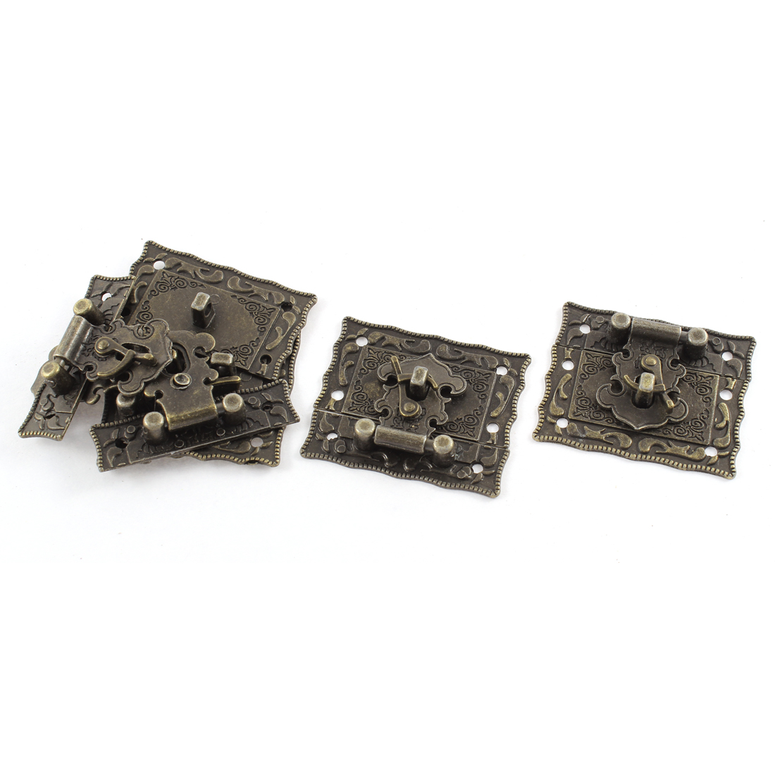 5pcs 51mmx43mm Antique Style Jewelry Box Hasp Latch Lock w Screws