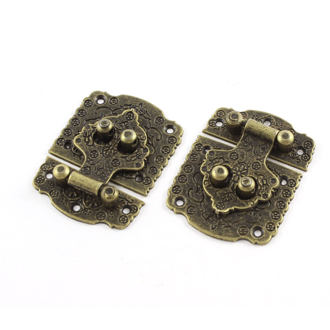53mmx40mm Box Suitcase Retro Style Flower Pattern Toggle Latch Buckles 2pcs