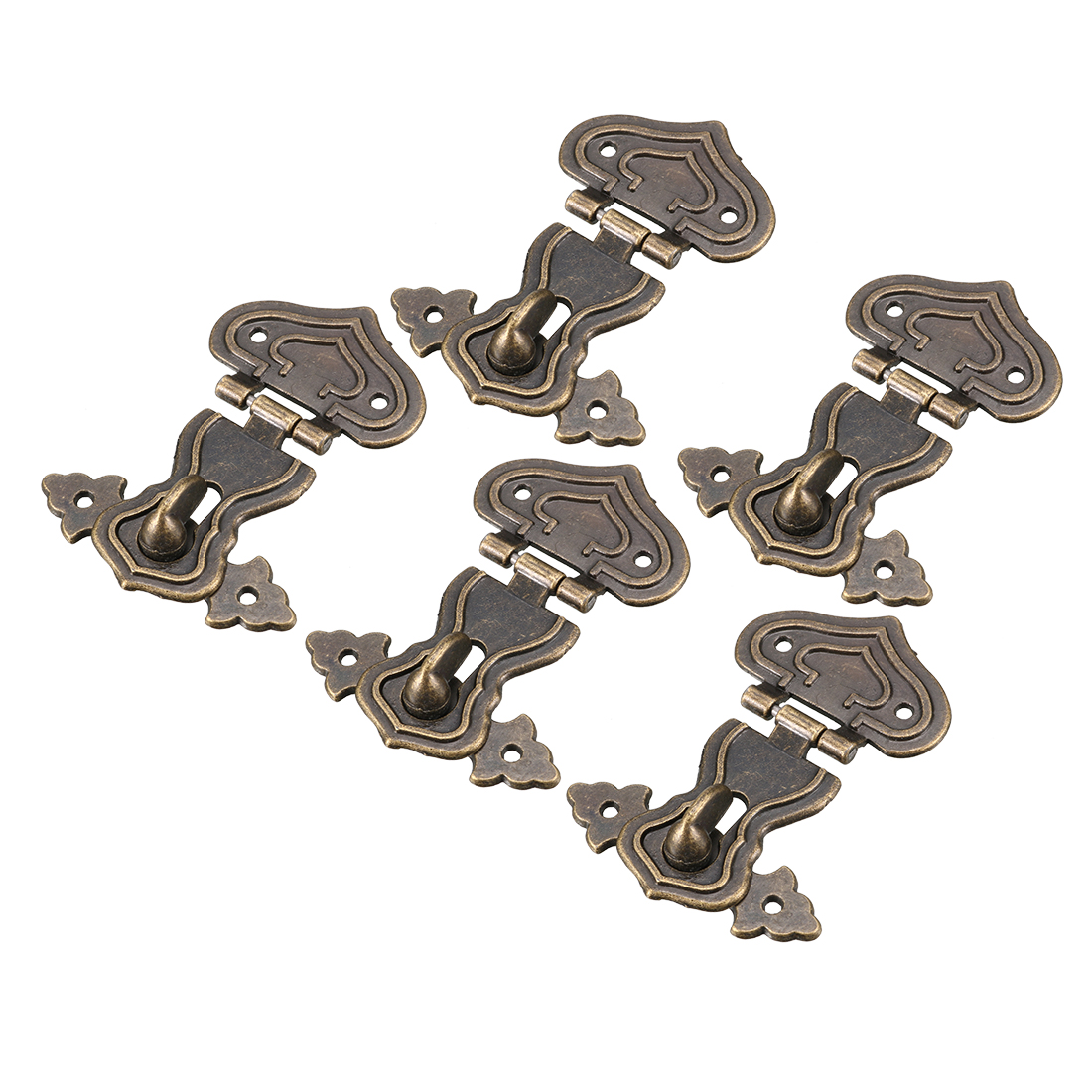 5 Pcs 64mmx48mm Retro Style Bronze Tone Heart Shape Box Hasp Latch Lock
