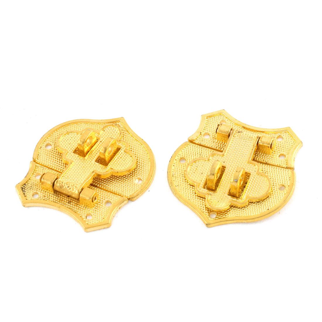 2pcs 41mmx40mm Gold Tone Zinc Alloy Heart Shape Suitcase Box Lid Hidden Hole Latch