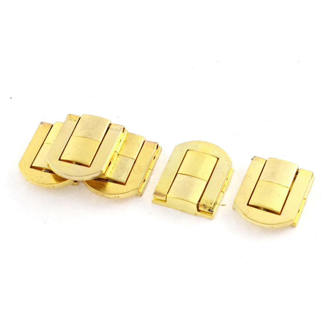 5pcs 25mmx21mm Gold Tone Zinc Alloy Suitcase Box Lid Hidden Hole Latch