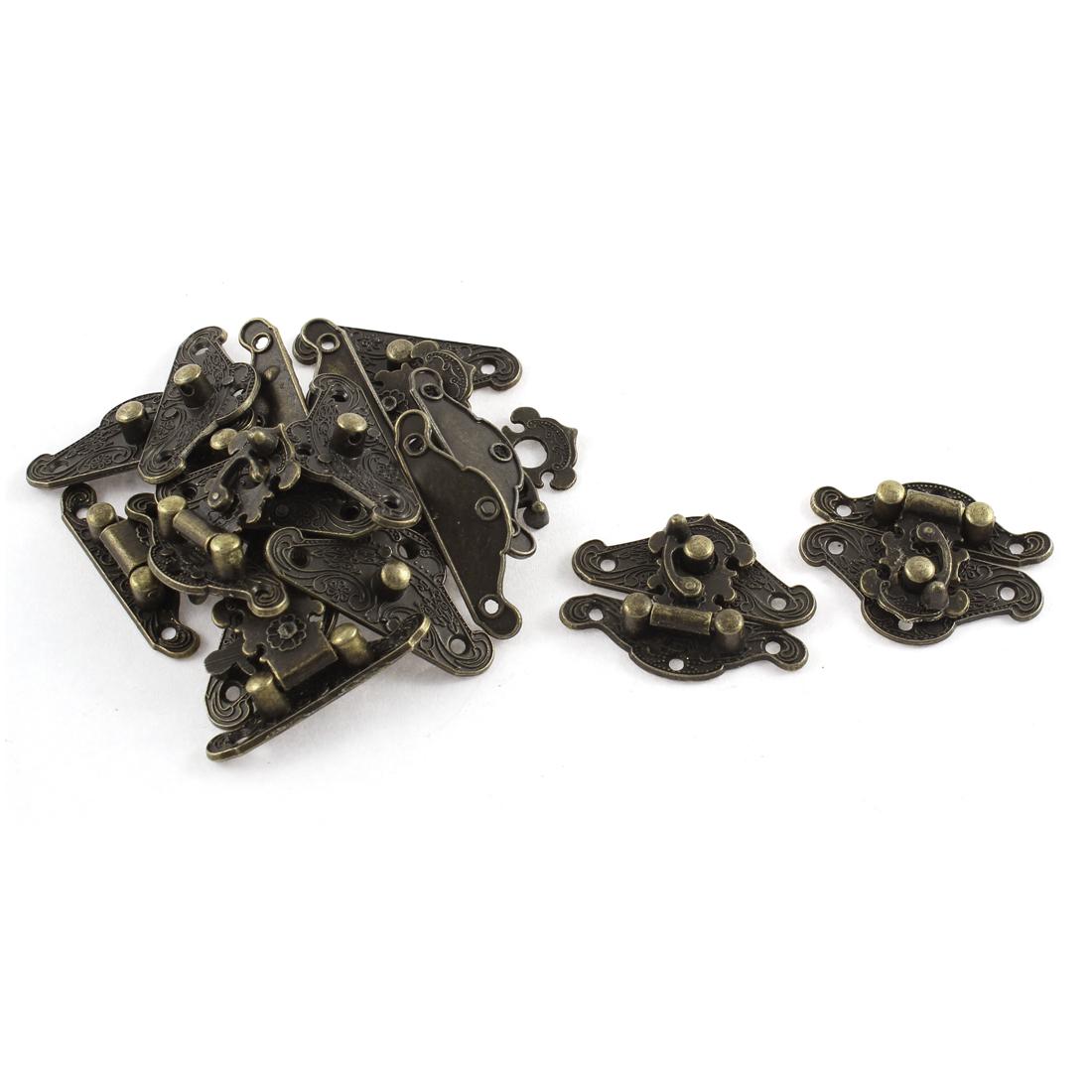 10pcs 37mmx27mm Retro Style Bronze Tone Box Cabinet Hook Lock Lid Latch