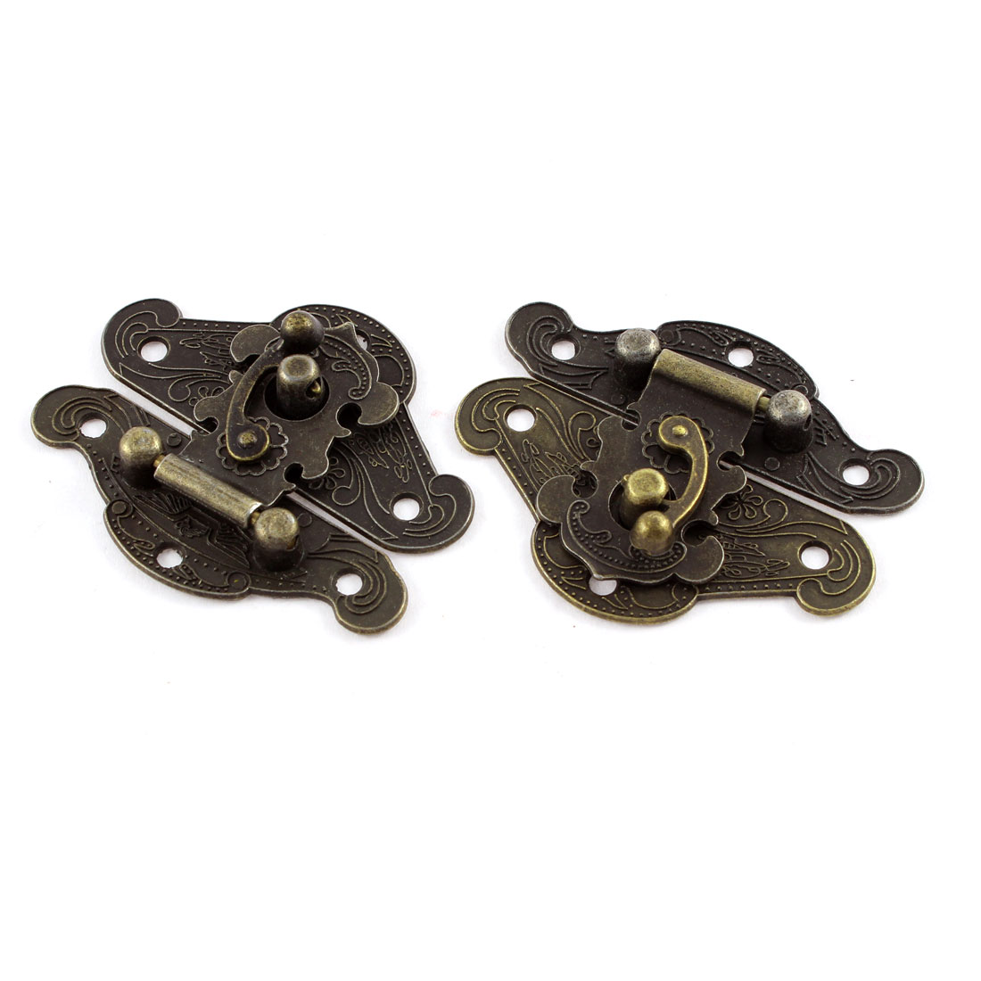 2pcs 66mmx54mm Retro Style Bronze Tone Box Cabinet Hook Lock Lid Latch
