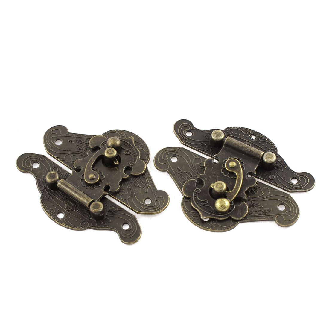 2pcs 85mmx68mm Retro Style Bronze Tone Box Cabinet Hook Lock Lid Latch