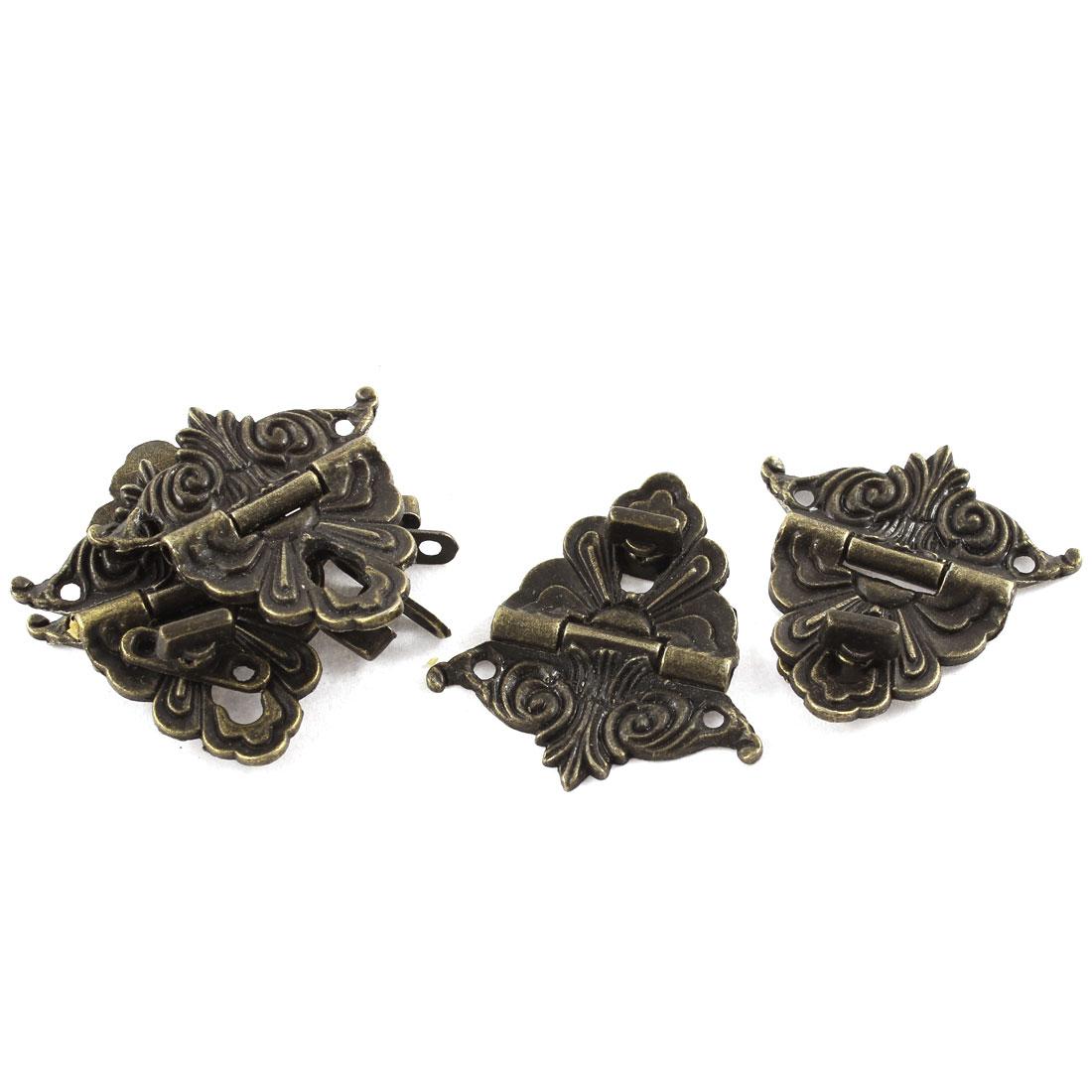 5pcs 48mmx45mm Retro Style Bronze Tone Jewelry Box Drawer Decorative Hasp Lock Latch