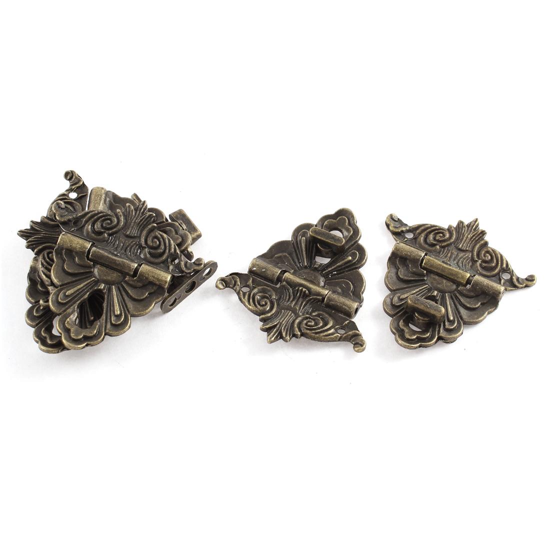 5pcs 59mmx55mm Retro Style Bronze Tone Jewelry Box Drawer Decorative Hasp Lock Latch