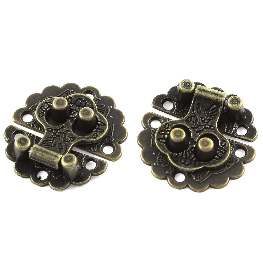 2pcs 30mmx30mm Vintage Style Flower Shape Box Suitcase Toggle Latch Buckles