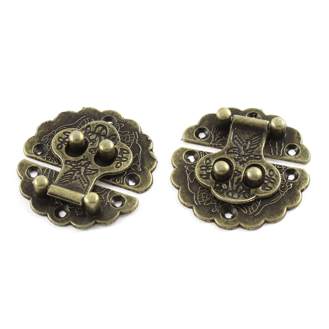 2pcs 40mmx40mm Vintage Style Flower Shape Box Suitcase Toggle Latch Buckles