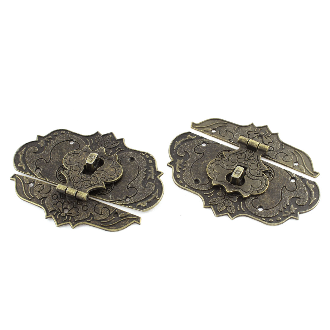 97mmx73mm Antique Brass Color Jewelry Box Hasp Latch Lock 2 Pcs