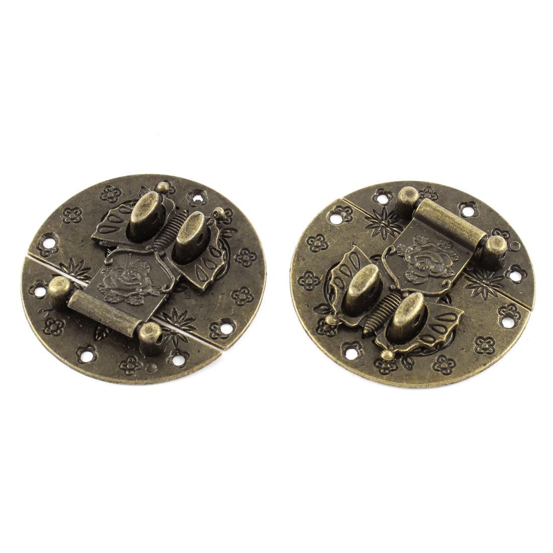 2pcs 58mmx58mm Bronze Tone Box Suitcase Decorative Hasp Latch Lock