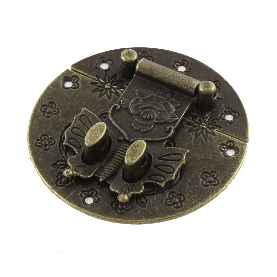 73.5mmx73.5mm Flower Pattern Carved Box Suitcase Decorative Hasp Latch Lock