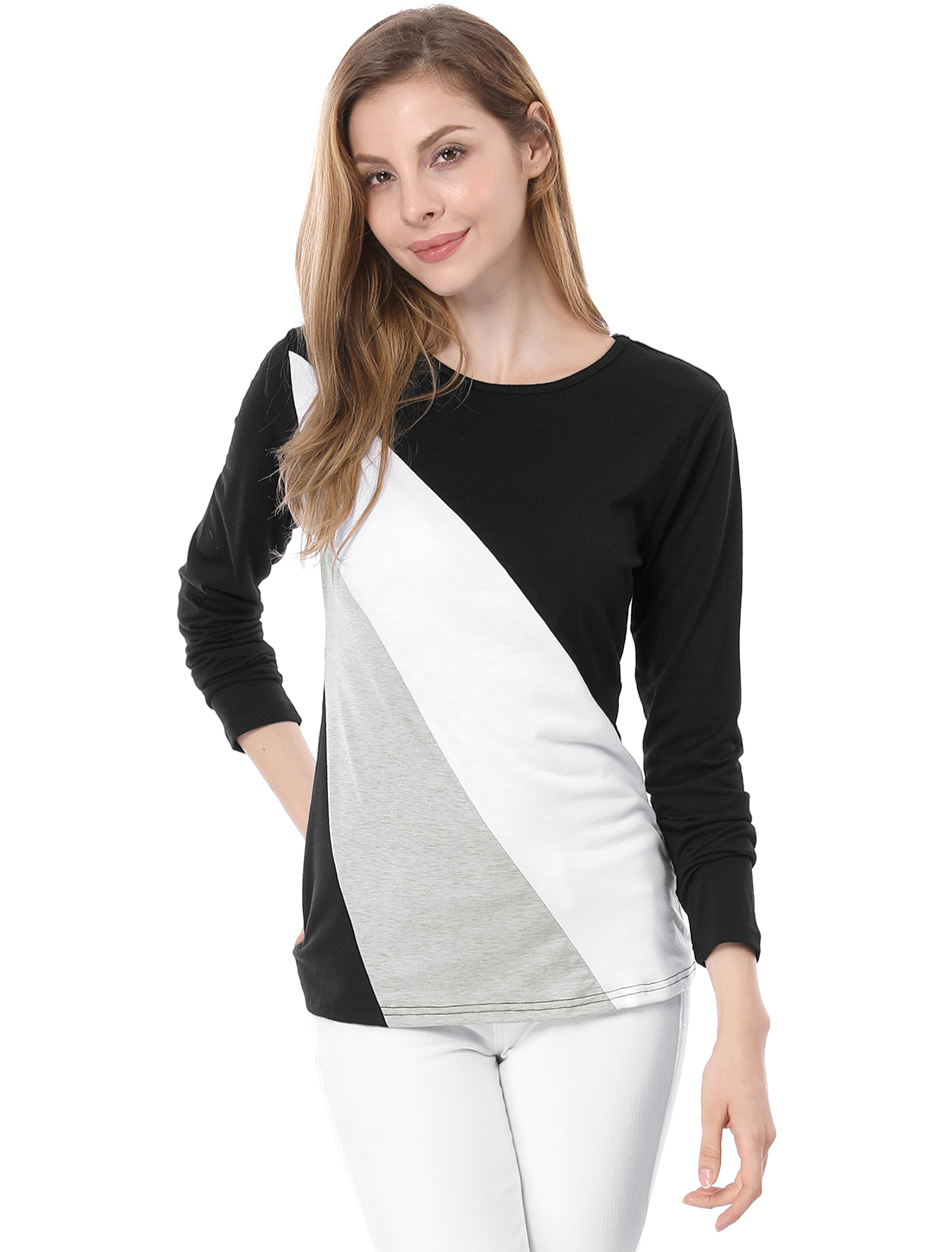 Ladies Color Block Round Neck Long Sleeve Tee Shirt Black White L
