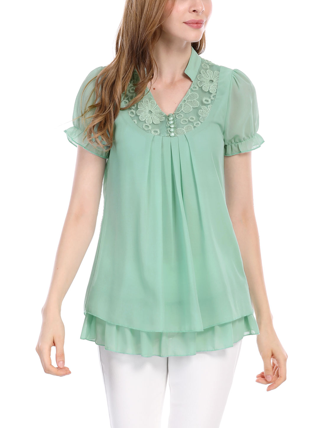 Women Short Sleeves Flounce Layered Pleated Tunics Green S