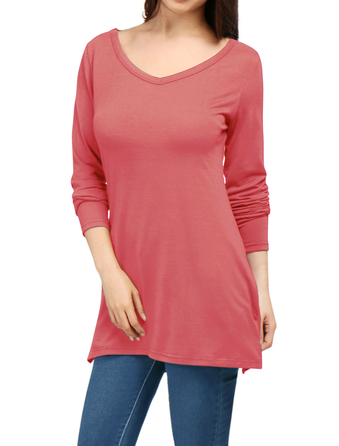 Woman Side-Slit Two Pockets V-Neckline Longline Top Coral XS