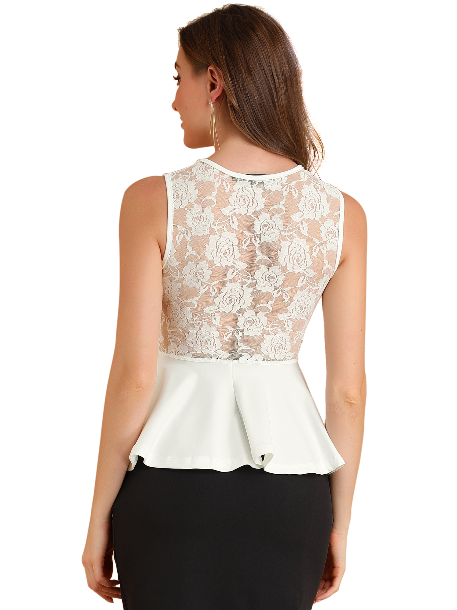 Lady Round Neck Sleeveless Lace Peplum Tops White L